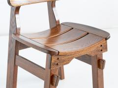Set of Six Brutalist Dining Chairs in Solid Oak Spain 1970s - 1343486