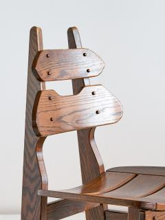 Set of Six Brutalist Dining Chairs in Solid Oak Spain 1970s - 1343487