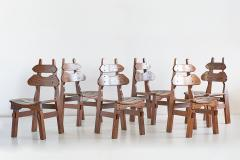 Set of Six Brutalist Dining Chairs in Solid Oak Spain 1970s - 1343488