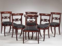 Set of Six Carved Mahogany Dining Chairs - 1227362