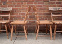 Set of Six Chairs Salmon Painted and Decorated Pennsylvania circa 1840 - 552825
