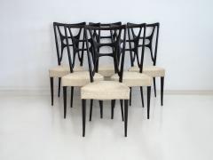 Set of Six Ebonized Wood Dining Chairs - 1625725