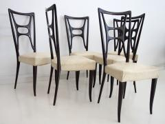 Set of Six Ebonized Wood Dining Chairs - 1625730