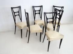 Set of Six Ebonized Wood Dining Chairs - 1625732