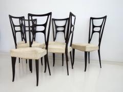 Set of Six Ebonized Wood Dining Chairs - 1625736