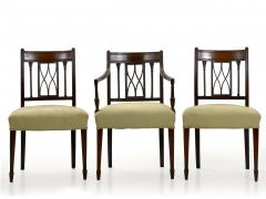 Set of Six English Regency Carved Mahogany Antique Dining Chairs circa 1800 - 1126759