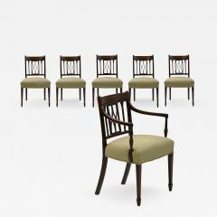 Set of Six English Regency Carved Mahogany Antique Dining Chairs circa 1800 - 1129101