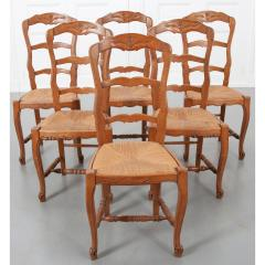 Set of Six French 20th Century Rush Seat Dining Chairs - 1931872