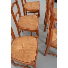 Set of Six French 20th Century Rush Seat Dining Chairs - 1931873