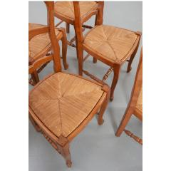 Set of Six French 20th Century Rush Seat Dining Chairs - 1931874