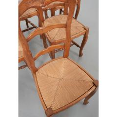 Set of Six French 20th Century Rush Seat Dining Chairs - 1931875