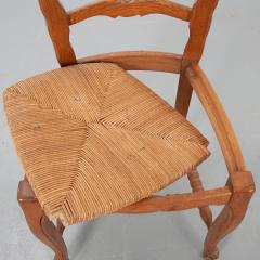 Set of Six French 20th Century Rush Seat Dining Chairs - 1931876