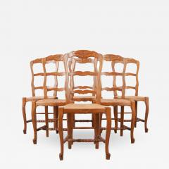 Set of Six French 20th Century Rush Seat Dining Chairs - 2052129