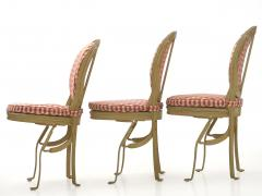Set of Six French Antique Painted Theater Seats Dining Chairs circa 1890 - 1125044