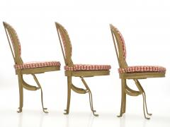 Set of Six French Antique Painted Theater Seats Dining Chairs circa 1890 - 1125050