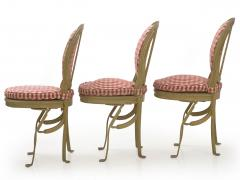 Set of Six French Antique Painted Theater Seats Dining Chairs circa 1890 - 1125052