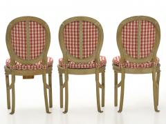 Set of Six French Antique Painted Theater Seats Dining Chairs circa 1890 - 1125054