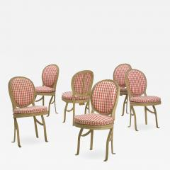 Set of Six French Antique Painted Theater Seats Dining Chairs circa 1890 - 1125686