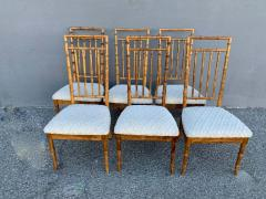 Set of Six Fruitwood Bamboo Style Dining Chairs - 1749546