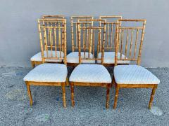 Set of Six Fruitwood Bamboo Style Dining Chairs - 1749547