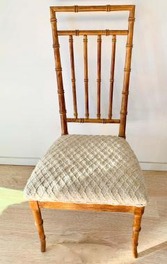 Set of Six Fruitwood Bamboo Style Dining Chairs - 1749551