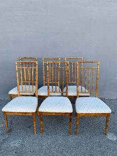 Set of Six Fruitwood Bamboo Style Dining Chairs - 1749564