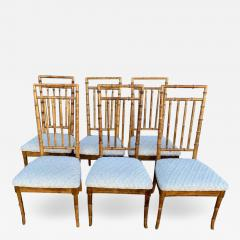 Set of Six Fruitwood Bamboo Style Dining Chairs - 1752276