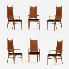 Set Of Six High Back Cathedral Danish Modern Dining Chairs   629197
