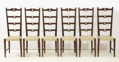 Set of Six Italian Walnut Rustic Ladder Back Chairs with Playing Card Motif - 1812740
