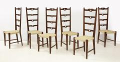 Set of Six Italian Walnut Rustic Ladder Back Chairs with Playing Card Motif - 1812741