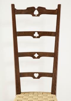 Set of Six Italian Walnut Rustic Ladder Back Chairs with Playing Card Motif - 1812743