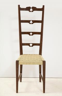 Set of Six Italian Walnut Rustic Ladder Back Chairs with Playing Card Motif - 1812744