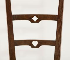 Set of Six Italian Walnut Rustic Ladder Back Chairs with Playing Card Motif - 1812750