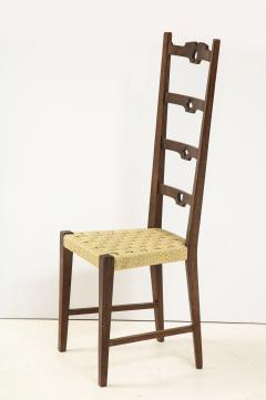 Set of Six Italian Walnut Rustic Ladder Back Chairs with Playing Card Motif - 1812752