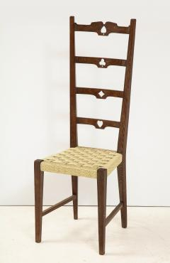 Set of Six Italian Walnut Rustic Ladder Back Chairs with Playing Card Motif - 1812753