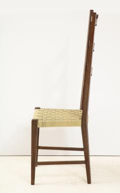 Set of Six Italian Walnut Rustic Ladder Back Chairs with Playing Card Motif - 1812754
