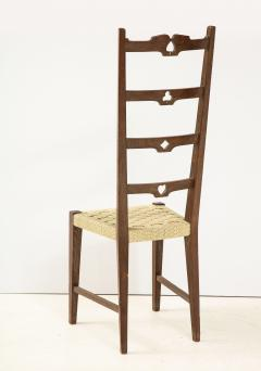 Set of Six Italian Walnut Rustic Ladder Back Chairs with Playing Card Motif - 1812756