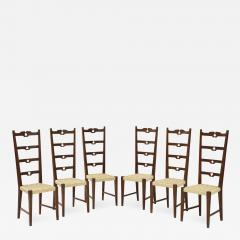 Set of Six Italian Walnut Rustic Ladder Back Chairs with Playing Card Motif - 1813684