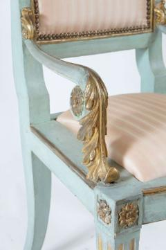 Set of Six Parcel Gilt and Painted Armchairs Italy circa 1800 - 789302