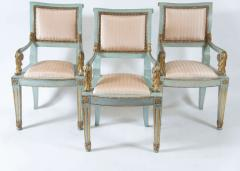 Set of Six Parcel Gilt and Painted Armchairs Italy circa 1800 - 789305