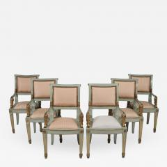 Set of Six Parcel Gilt and Painted Armchairs Italy circa 1800 - 790939