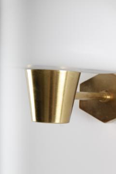 Set of Six Swedish Midcentury Wall Lamps in Brass and Opaline Glass - 851229