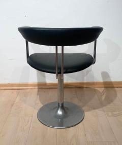 Set of Six Vintage Swivel Armchairs Metal Black Leather Netherlands 1970s - 1935537