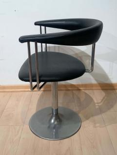 Set of Six Vintage Swivel Armchairs Metal Black Leather Netherlands 1970s - 1935539