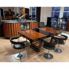 Set of Six Vintage Swivel Armchairs Metal Black Leather Netherlands 1970s - 1935541