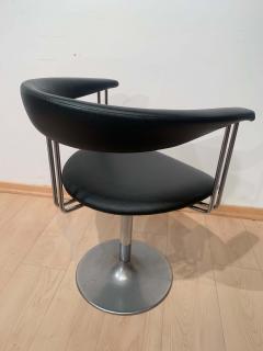 Set of Six Vintage Swivel Armchairs Metal Black Leather Netherlands 1970s - 1935542