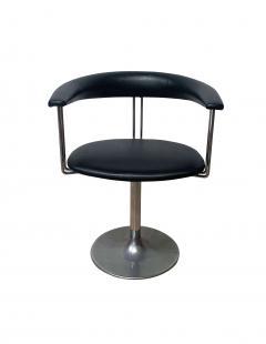 Set of Six Vintage Swivel Armchairs Metal Black Leather Netherlands 1970s - 1935544