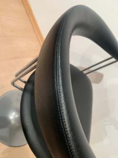 Set of Six Vintage Swivel Armchairs Metal Black Leather Netherlands 1970s - 1935545