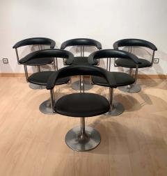 Set of Six Vintage Swivel Armchairs Metal Black Leather Netherlands 1970s - 1935547