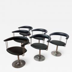 Set of Six Vintage Swivel Armchairs Metal Black Leather Netherlands 1970s - 1937374